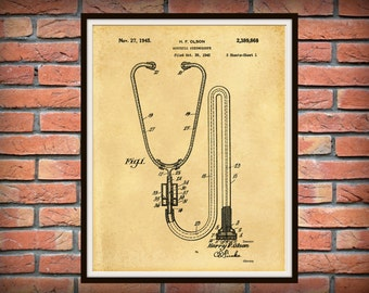 1945 Acoustic Stethoscope Patent Print  - Doctors Office - Hospital Decor - Physician Office Decor - Medical Poster - Nurse Gift