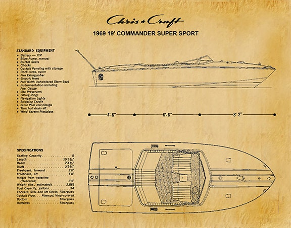 1969 Chris Craft Boat Drawing, Chris Craft Commander Super