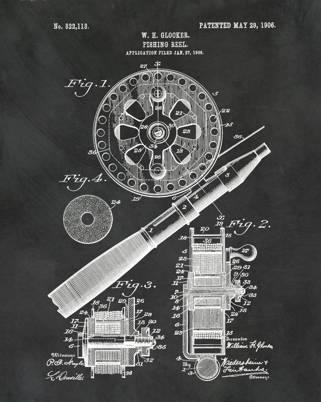 Patent 1906 Fishing Reel Art Print Poster Nautical Art Boat