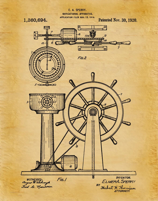 1920 Ship Navigation Patent Print Apparatus Art Print - Poster ...