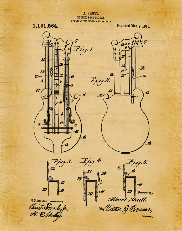 1915 Double Bass Guitar Patent Print - Rock Band Instrument - Music ...