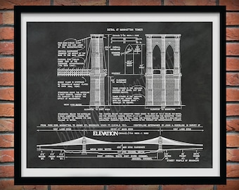 Brooklyn Bridge Drawing, Brooklyn Bridge architectural blueprint, 1870's Brooklyn Bridge poster, New York City Brooklyn Bridge Art Print
