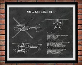 UH-72 Lakota Eurocopter Print, UH-72a Lakota Helicopter Blueprint, Helicopter Pilot Gift, Helicopter Decor, Medical Helicopter Drawing