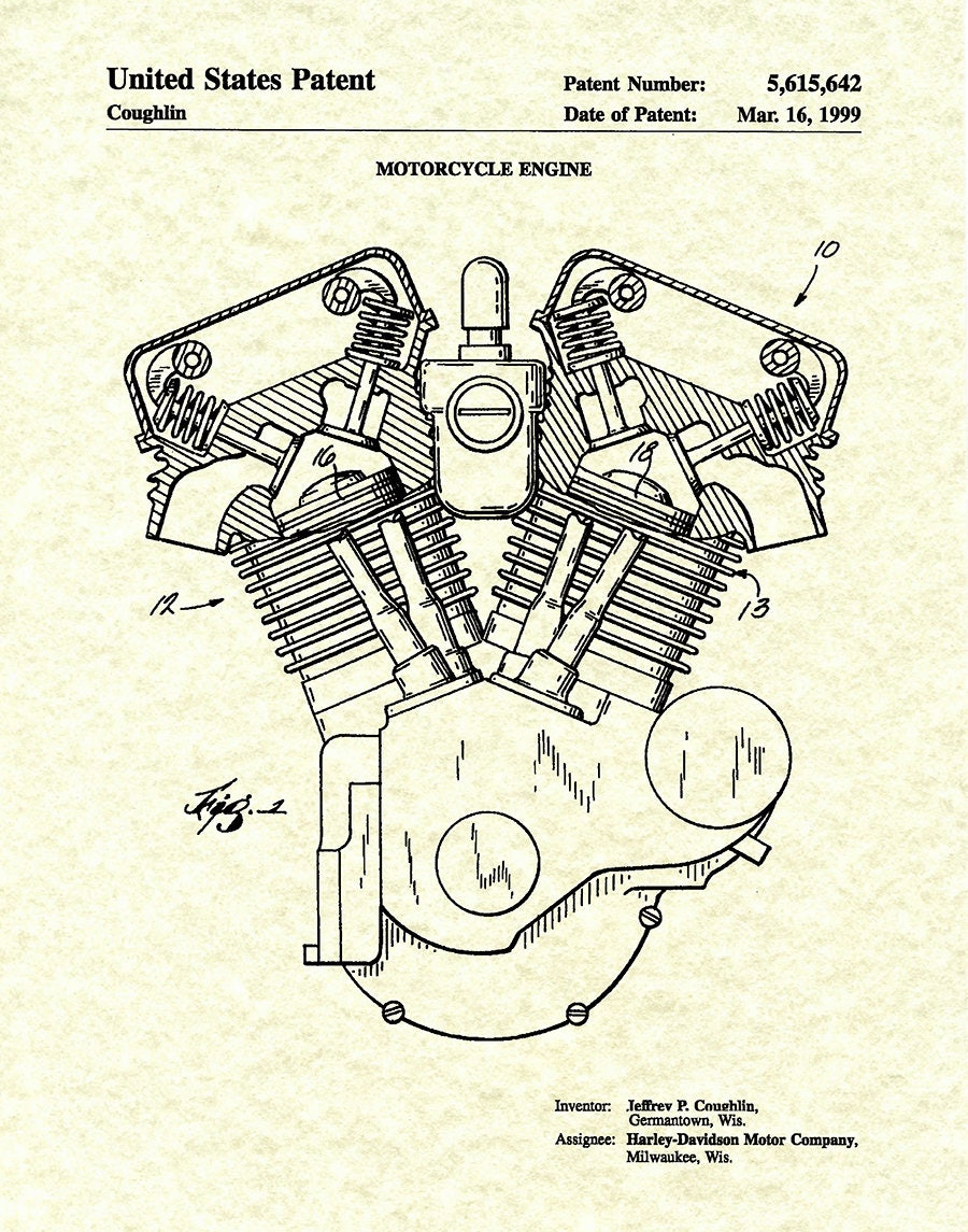 Harley Davidson Twin Cam Engine Diagram Wiring Library 1999 Patent Print Motorcycle Poster
