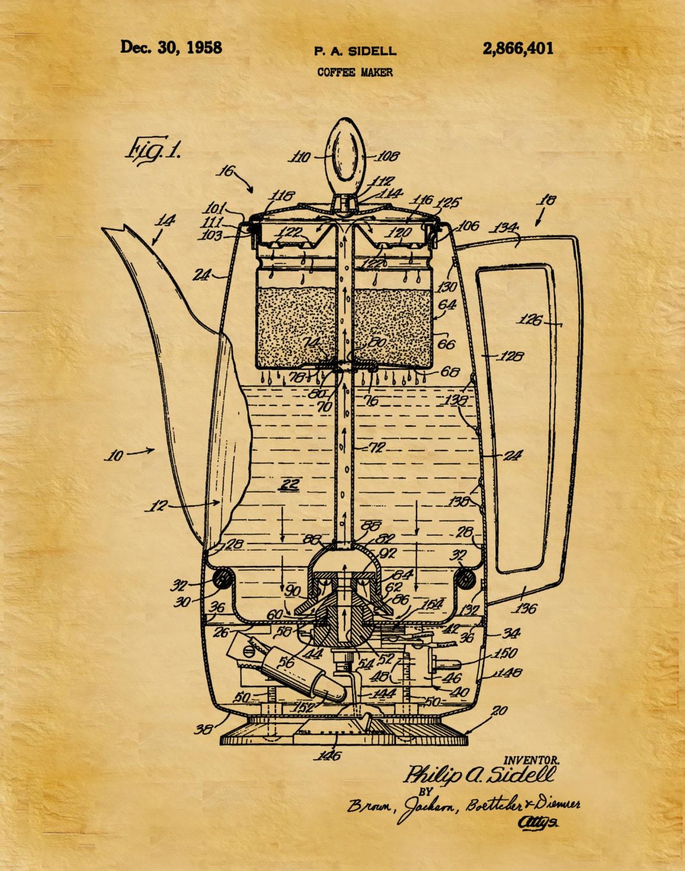 1958 Coffee Pot Patent - Wall Art Print - Kitchen Decor - Poster ...