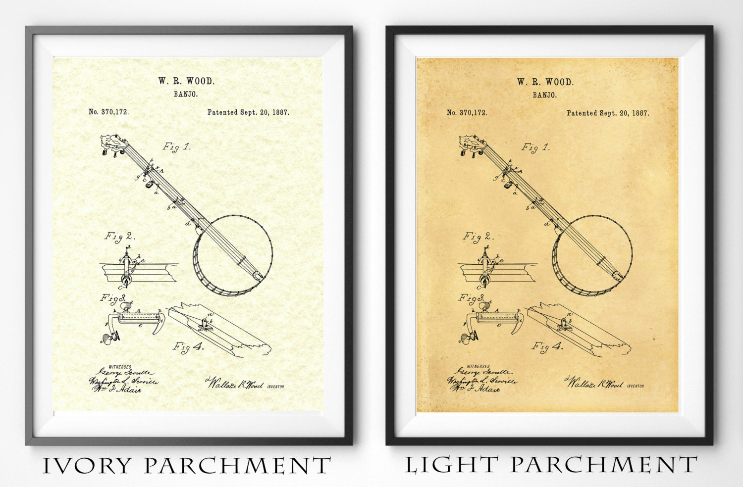 Patent 1887 Banjo Designed by Wallace Wood - Musical Instrument Art ...
