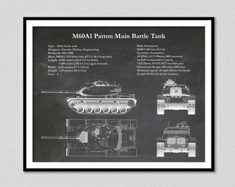 M60A1 Patton Main Battle Tank Designed for the Military, M60A1 drawing, Patton Tank Illustration, M60 Cold War Tank Drawing, M60A1 Main Tank