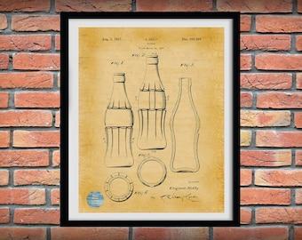 1937 Coca Cola Bottle Patent Print, Coca Cola Poster, Soda Shop Décor, Coca Cola Bottle Blueprint, Coca Cola Drawing, Coke and a Smile Art