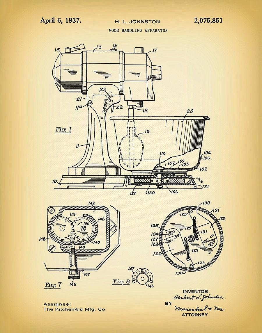 1937 Kitchenaid Mixer Patent Print Kitchen Aid Mixer