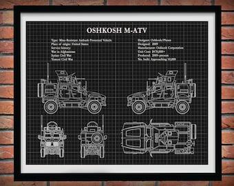 M-atv All Terrain Vehicle Poster Print, US Army All Terrain Vehicle, US Army MRAP Wall Art, Mine Resistant Ambush Protected Vehicle Drawing