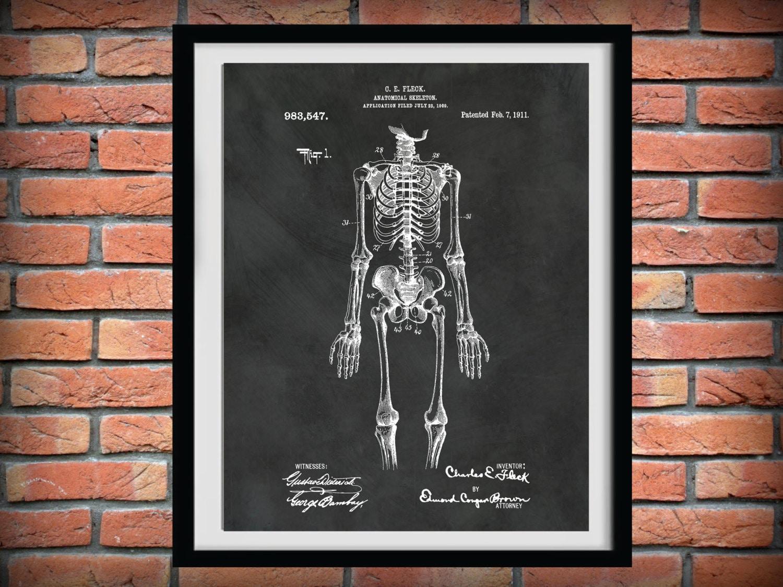 1911 Anatomical Skeleton Patent Print - Skeleton Poster - Orthopedic ...