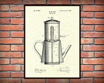 Patent 1899 Coffee Pot Patent - Drip Coffee Pot Wall Art Print - Kitchen - Poster - Restaurant Wall Art - Coffee Shop Wall Art - Housewares