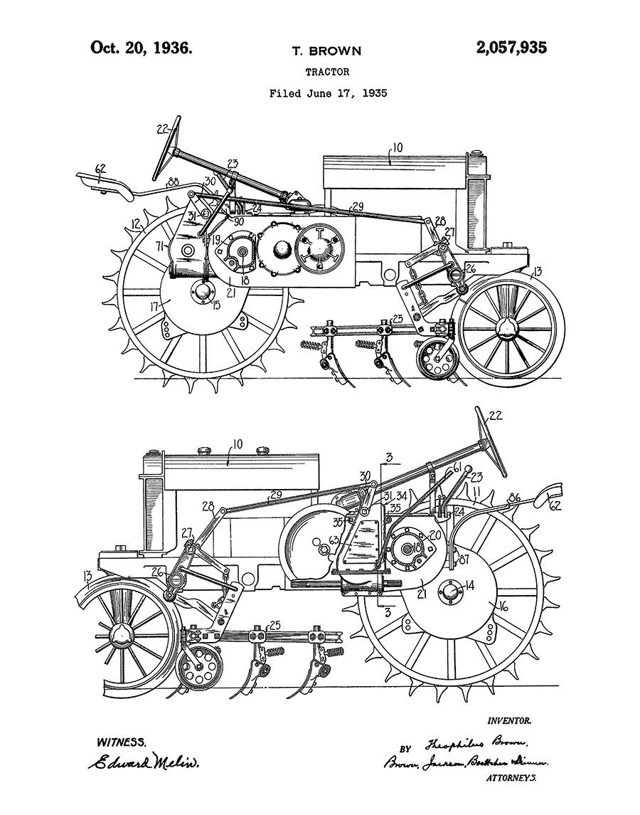 1935 john deere b tractor patent print - poster - agriculture art - farming