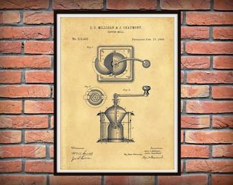1885 Coffee Mill Patent Print - Coffee Grinder Patent Print - Kitchen Decor - Coffee Shop Decor - Barista Gift Idea - Coffee Lover Gift Idea