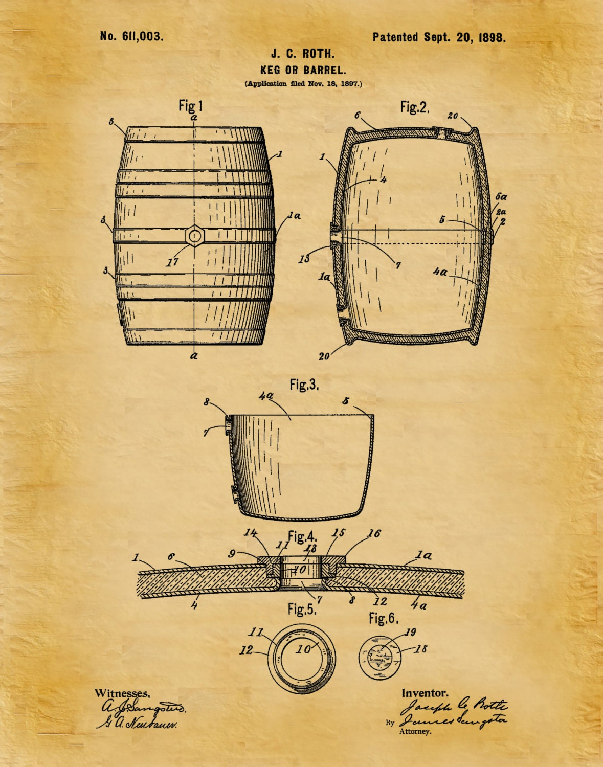 Patent 1898 Beer Barrel - Wine Barrel - Beer Keg - Art Print Poster ...