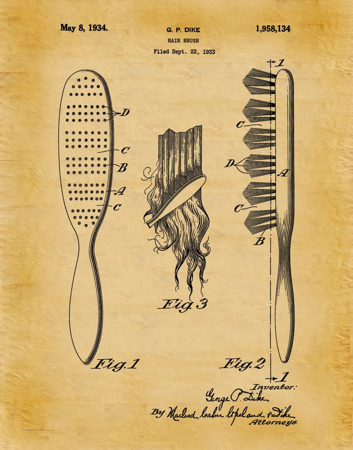 1934 hair brush patent print barber shop decor hair salon decor 1934 hair brush patent print barber shop decor hair salon decor hairdresser gift idea bathroom decor beauty parlor wall art malvernweather Images