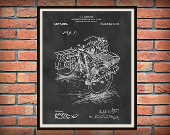 1918 Harley Motorcycle with Side Car Patent Print - Wall Art - Bike - Motor Bike - Harley Davidson Motorcycle - Harley Decor