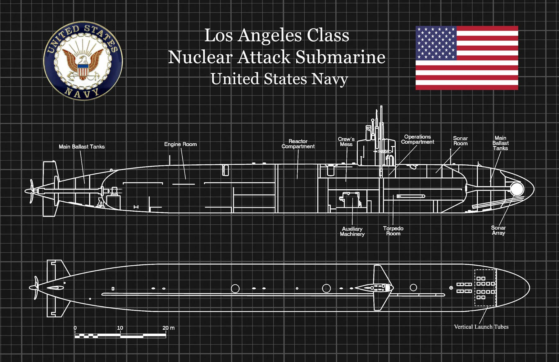 USS Los Angeles SSN-688 Class Submarine Art Print Poster