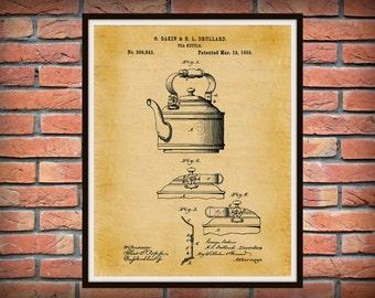 1889 Tea Kettle Patent Print - Kitchen Decor - Coffee Shop Decor - Starbucks Wall Art - Barista Gift Idea - Farmhouse Decor