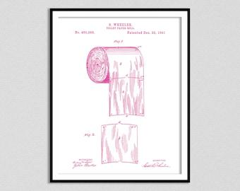 1891 Toilet Paper Roll Patent Print, Bathroom Art, Bathroom Patent Print, Toilet Paper Patent Poster Print, Bathroom Decor