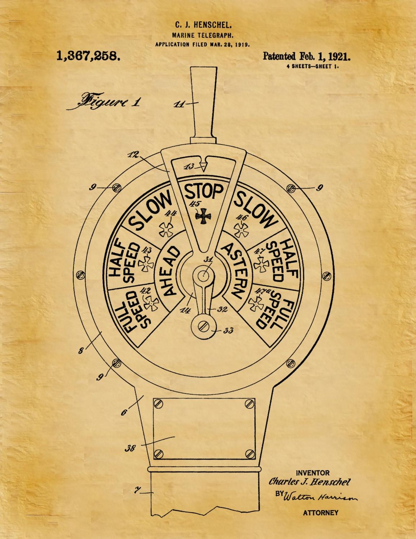 1921 Marine Telegraph Patent Print- Ships Communication - Nautical ...