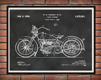 Patent 1928 Harley Motorcycle - Poster - Wall Art - Drawing Illustration - Harley Davidson - Bike - Motor Bike - Hells Angels