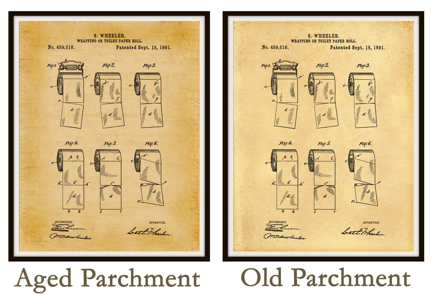 Patent 1891 Toilet Paper Roll - Bathroom Wall Art - Art Print ...