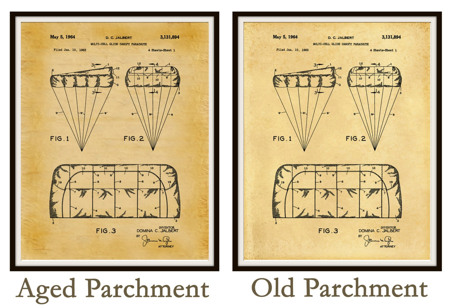 1964 T-11 Parachute Patent - US Military Armed Forces - Soldier Wall ...