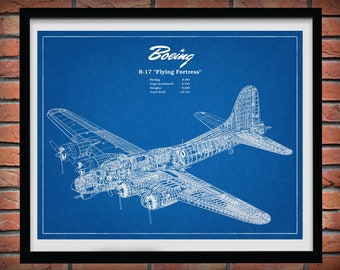 1935 Boeing B17 Flying Fortress WWII Bomber - Boeing B-17 Airplane Art Print - Boeing B17 Flying Fortress Poster - Boeing B-17 Wall Art