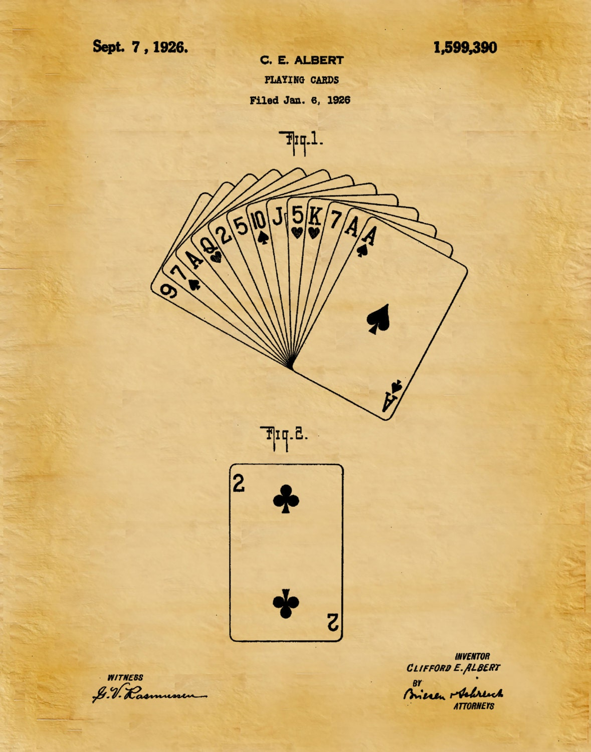 Patent 1926 Playing Cards Patent Art Print - Poster - Poker Deck of ...