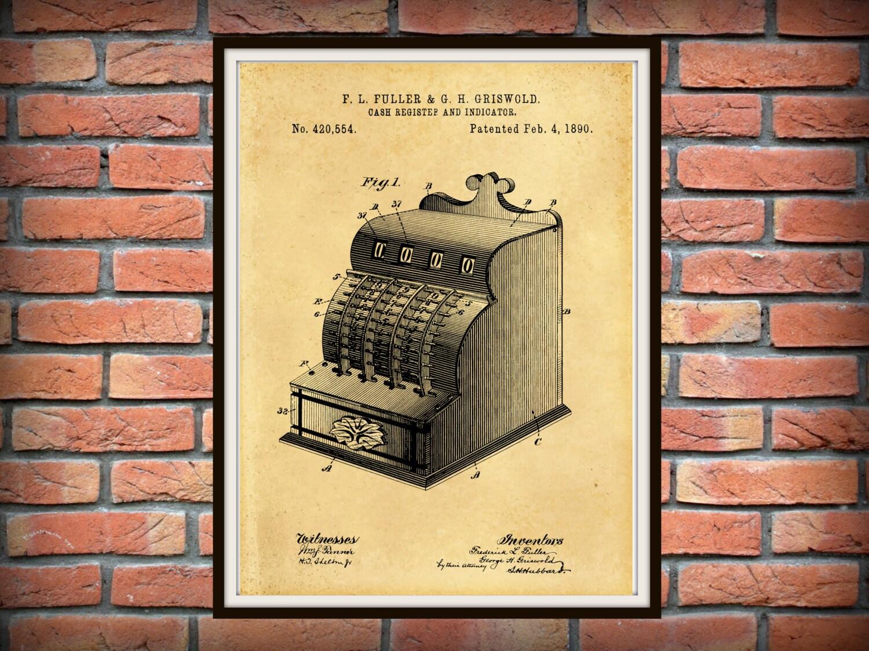 1890 Cash Register Patent Print Grocery Store Decor Antique Cash Register Poster Antique Calculator Print Gift Store Art