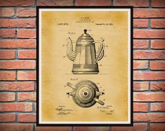 Patent 1921 Unique Coffee Pot Patent - Tea Pot Patent - Wall Art - 2 Handled Pot - Restaurant Wall Art - Coffee Shop Wall Art - Tea House