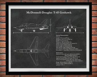 T-45 Goshawk Art Print, McDonnell Douglas T-45 Goshawk Poster, T-45 Goshawk Blueprint, Military Training Airplane, Naval trainer aircraft