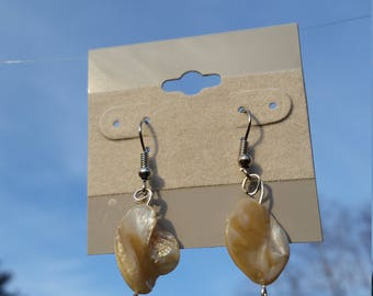 Listening Earrings  white shiney shells