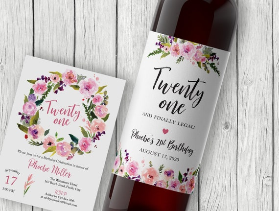 PERSONALIZED 21st Birthday Wine Label Twenty One And Legal