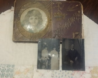 1800'S Victorian Friend Autograph Book and Tintype Photos