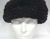 Refurbished New Black Persian Lamb Astrakhan Fur Hat Cap Women Woman Size All