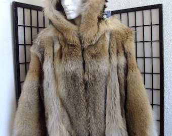Brand new natural coyote fur jacket coat w hood hoodie for men man size all  custom made 330d4bac0