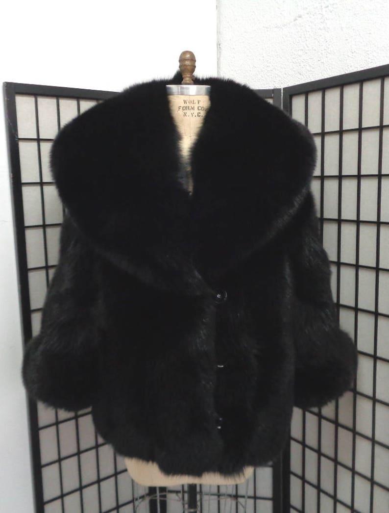 87e909db9 Brand new black fox fur jacket coat woman women size all | Etsy