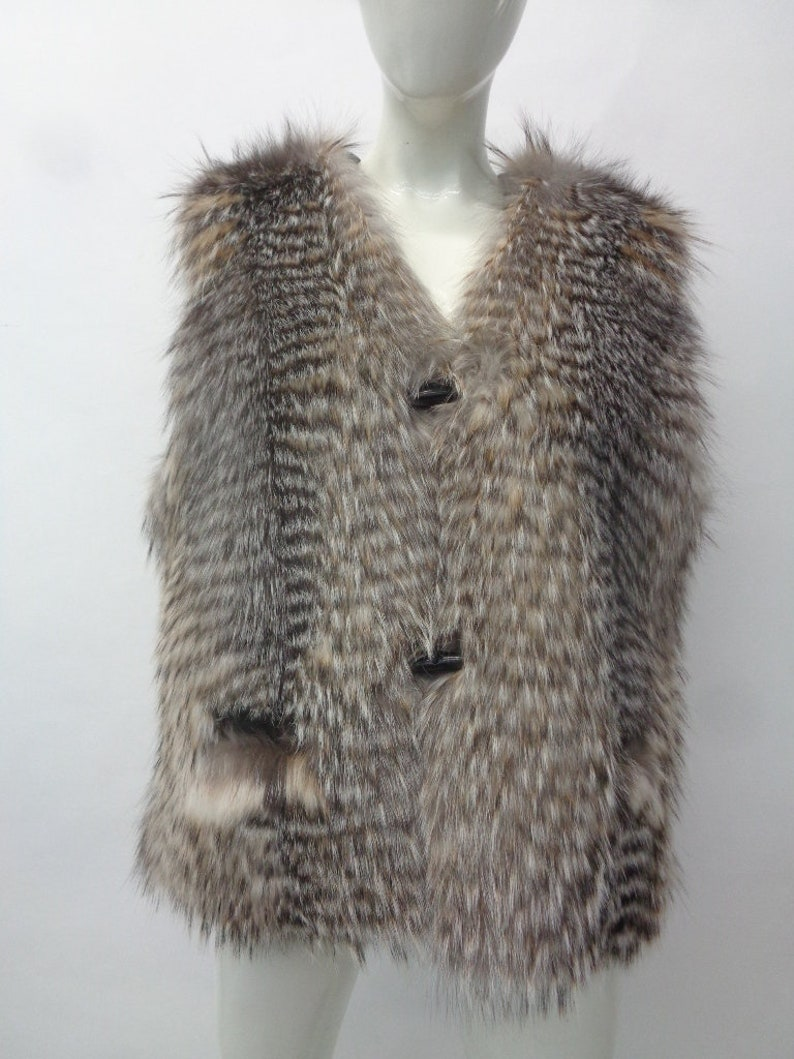 Showroom New Badger Fur /& Leather Vest Women Woman Size 6 Small