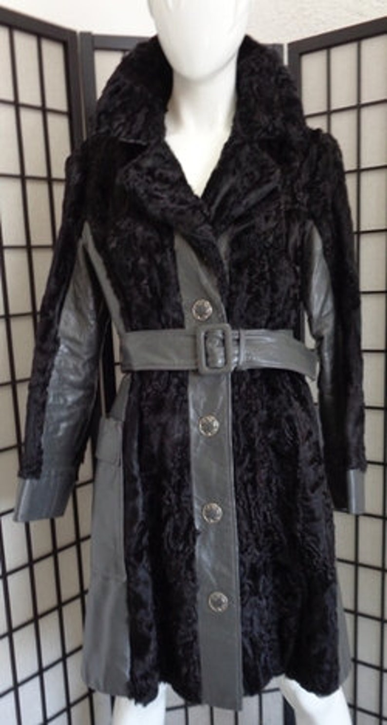 Leather Fur Coat Jacket Women Woman Sz 4-6 Astrakhan Mint Black Persian Lamb