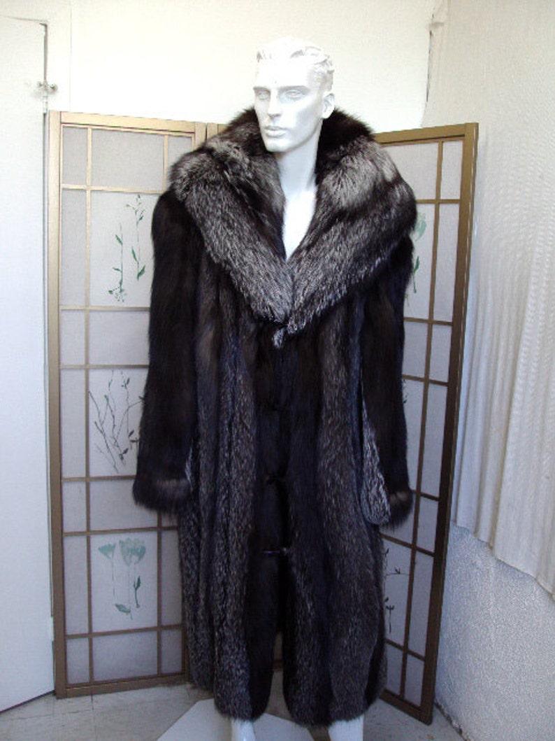 3b31247cee Brand new silver fox fur long full length coat w/hood for men | Etsy