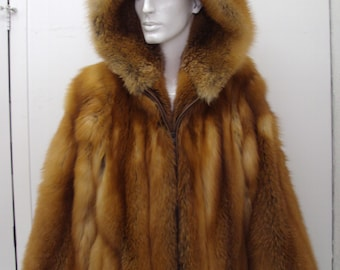 Brand new red fox fur jacket w/hood for men man size all custom made