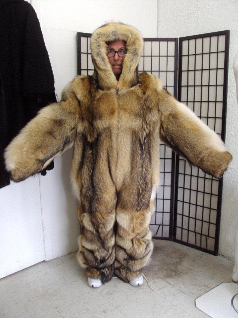 Brand new double sided coyote fur snowsuit jumpsuit bodysuit  2c26253ad