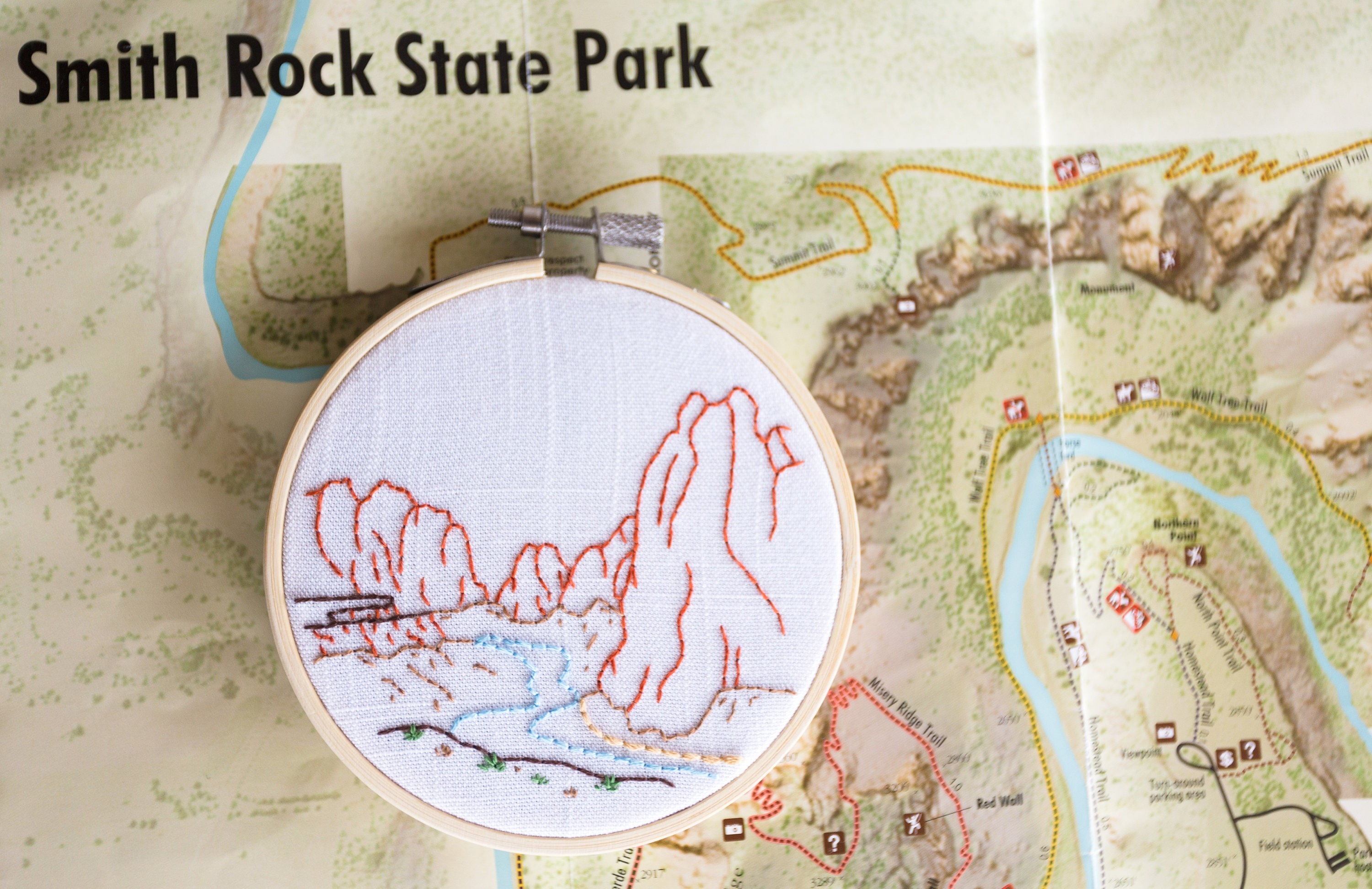 Hand Embroidered Hoop Art: Smith Rock on smith rock climbing routes, smith rock misery ridge trail, smith rock route map, smith rock road map, smith rock oregon, smith rock lodging, smith rock state park trails, smith rock climbing map, smith rock state park location, smith rock or, smith rock state park campground, smith rock welcome, smith rock park map, smith rock from a distance, crater of diamonds state park map, smith rock history, smith rock directions, smith rock brewing redmond, smith rock hiking guide, smith rock portland,