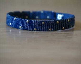Friendship Bracelet with Brassy Studs - Dark Denim