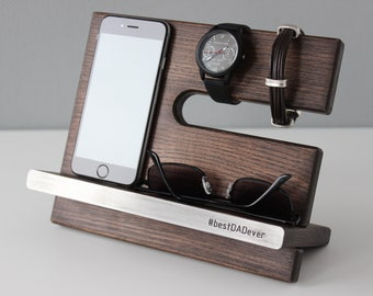 Docking Station, New Job Personalized Gift, Charging Station, NightStand Valet Organizer Desk Wood Phone Stand, Mens Gift Tech Gifts for Men