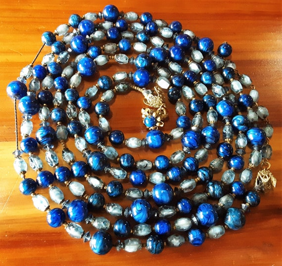 Miriam Haskell | Blue Flapper Beads Necklace