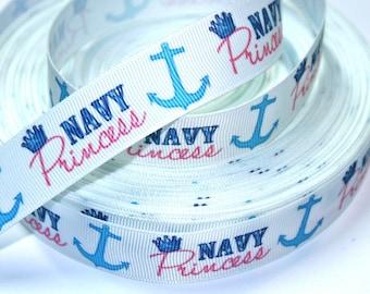 7/8 inch Navy Princess on White - Nautical - Anchor - Navy - Printed Grosgrain Ribbon for Hair Bow