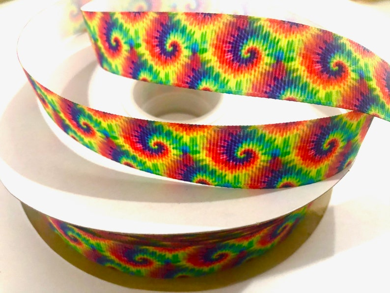 7/8 inch Tie Dye Bright Classic Primary Colors TRENDY  image 0